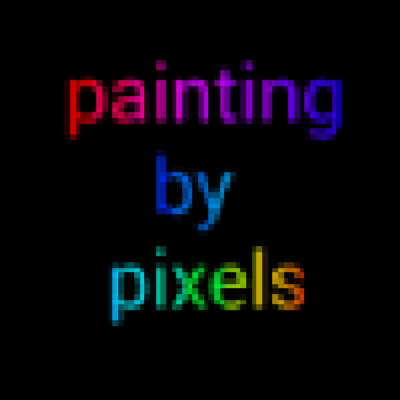 Painting by Pixesl written in pixellated style in rainbow colours