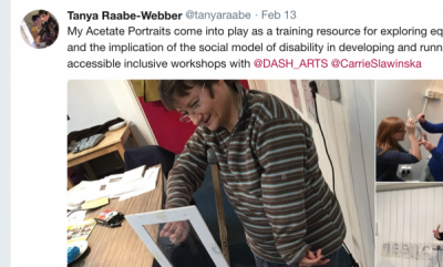 A tweet and a photo of Tanya Raabe-Webber with a framed acetate as part her training day