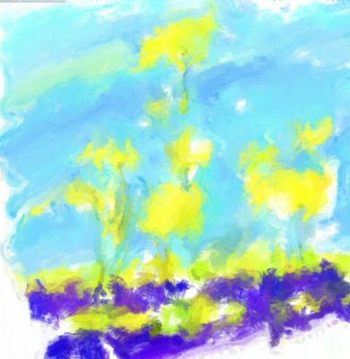 a watercolour-effect created digitally on the tablet of a landscape with flowers