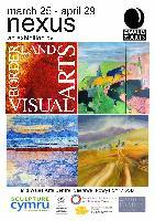 A poster for the art exhibition Nexus with several different landscape paintings on it/Hysbyslenni ar gyfer yr Arddangosfa Nexus yn cynnwys gwahanol dirluniau.
